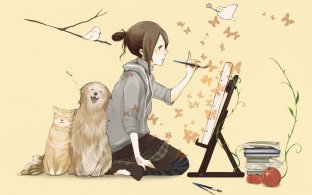 woman-painting-cat-dog-bird